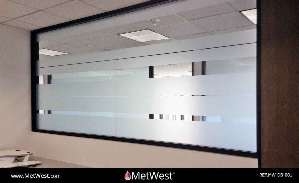 Decorative Glass Film  DB-001 Material:  dusted crystal Location:   Project:   Client:   Application:  custom privacy film stripes