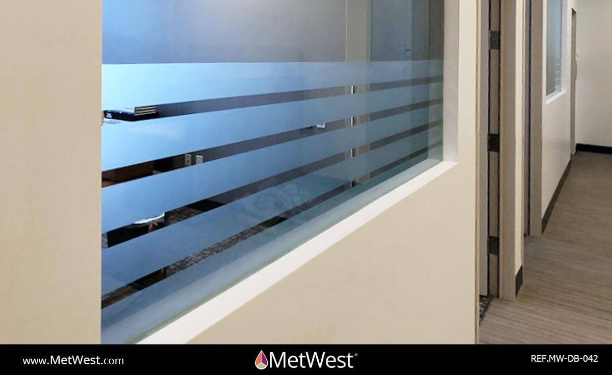 Decorative Glass Film  DB-042 Material:  Metro Frost  Location:   Project:   Client:   Application:  custom privacy film stripes