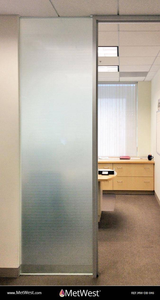Decorative Glass Film  DB-046 Material:  white frosted stripes Location:   Project:   Client:   Application:  decorative window film with a solid frosted film on the back