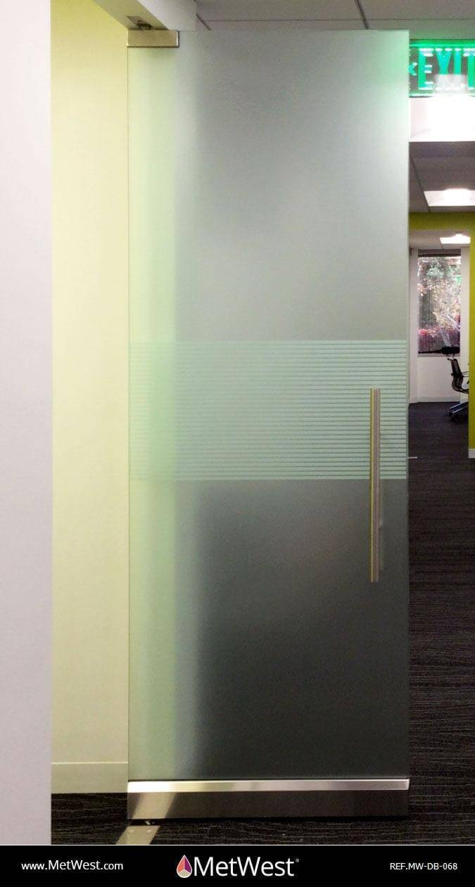 Decorative Glass Film  DB-068 Material:  white frosted stripes Location:   Project:   Client:   Application:  decorative window film with a solid frosted film on the back