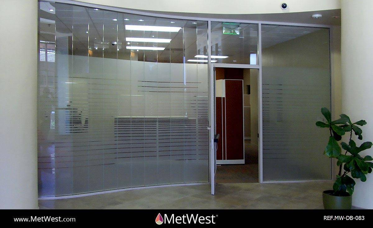 Decorative Glass Film  DB-083 Material:  Frosted crystal  Location:   Project:   Client:  Universal Credit Union Application: