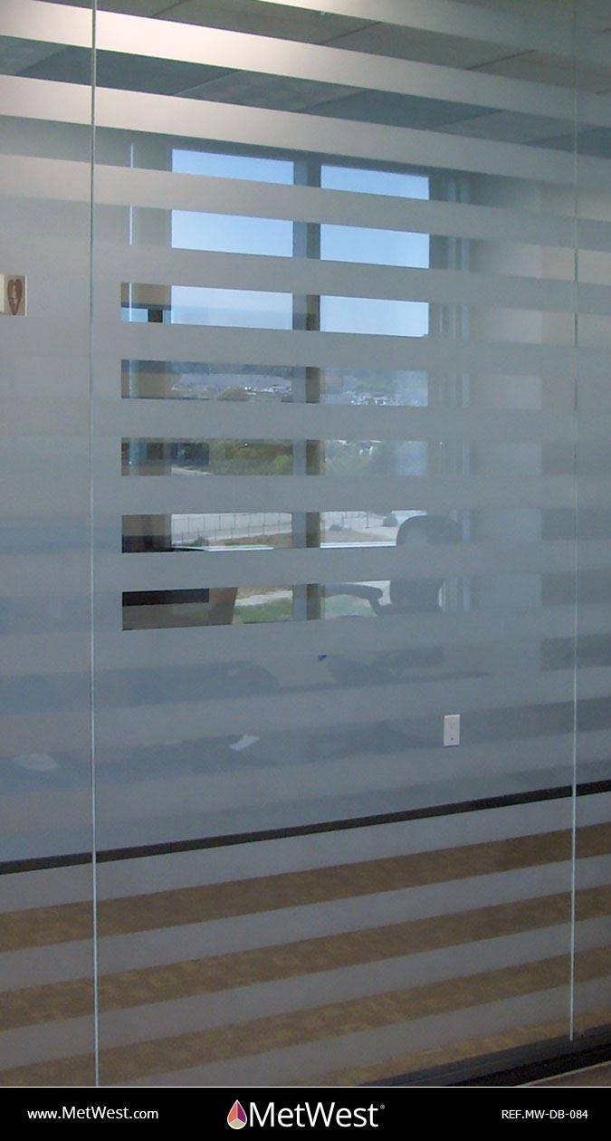 Decorative Glass Film  DB-084 Material:  Metro Frost  Location:   Project:   Client:   Application:  custom cut pin stripes film
