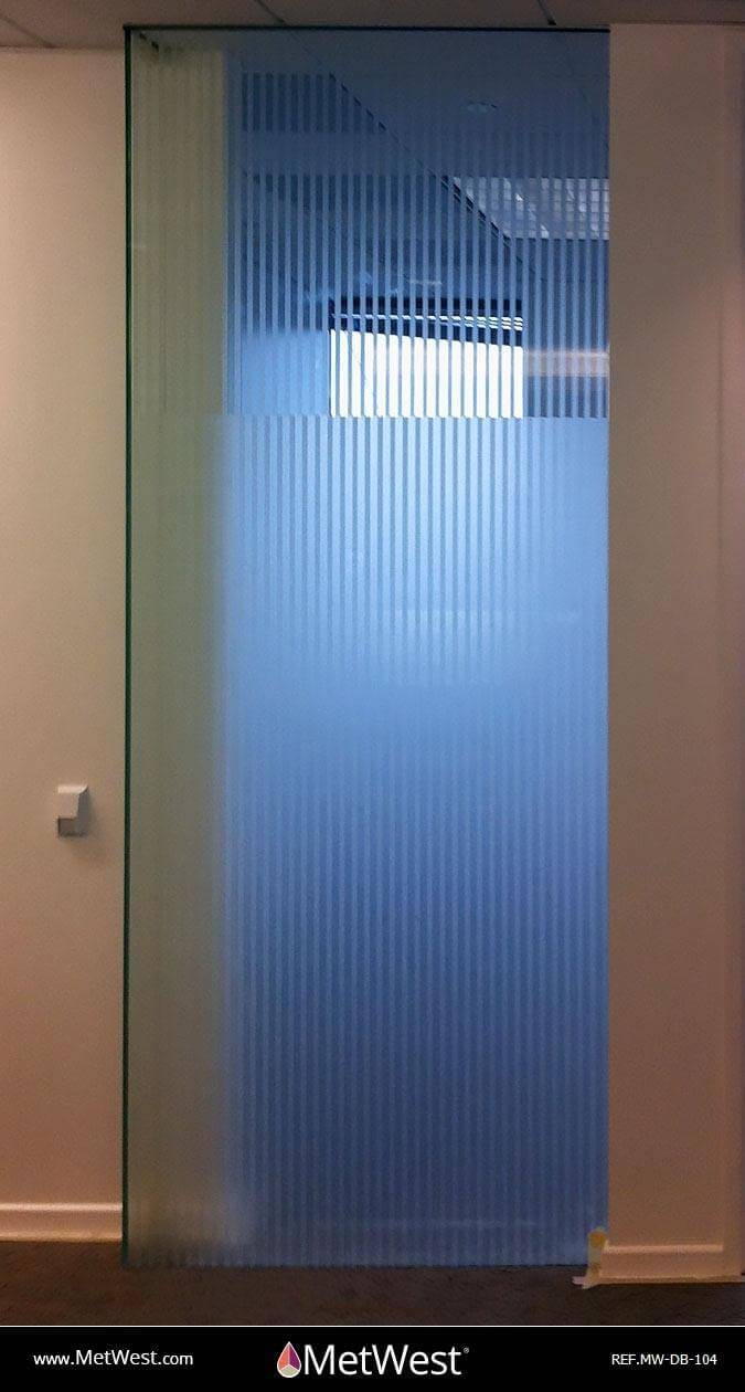 Decorative Glass Film  DB-104 Material:  white frosted stripes Location:   Project:   Client:   Application:  decorative window film with a solid frosted film on the back