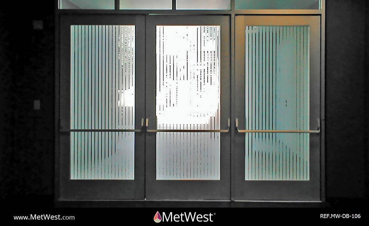 Decorative Glass Film DB-106 Material: dusted crystal Location: Project: Client: Application: custom cut pin stripes film