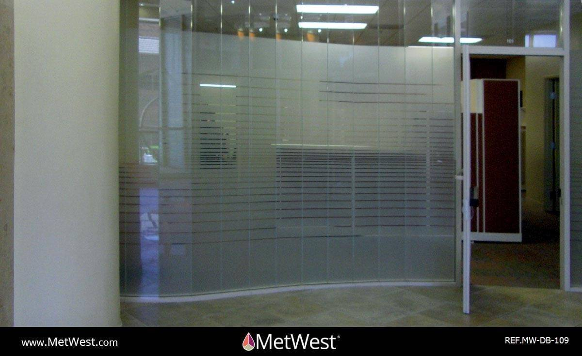 Decorative Glass Film  DB-109 Material:  Frosted crystal  Location:   Project:   Client:  Universal Credit Union Application: