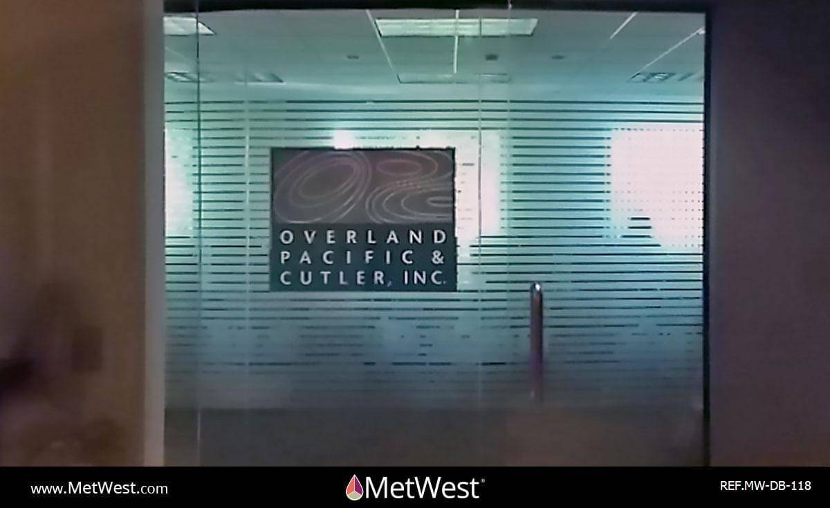 Decorative Glass Film  DB-118 Material:  Frosted ribbon & vinyl Location:   Project:   Client:  Overland Pacific Cutler Application:  We already reaplaced that logo, there has to be a more recent picture.