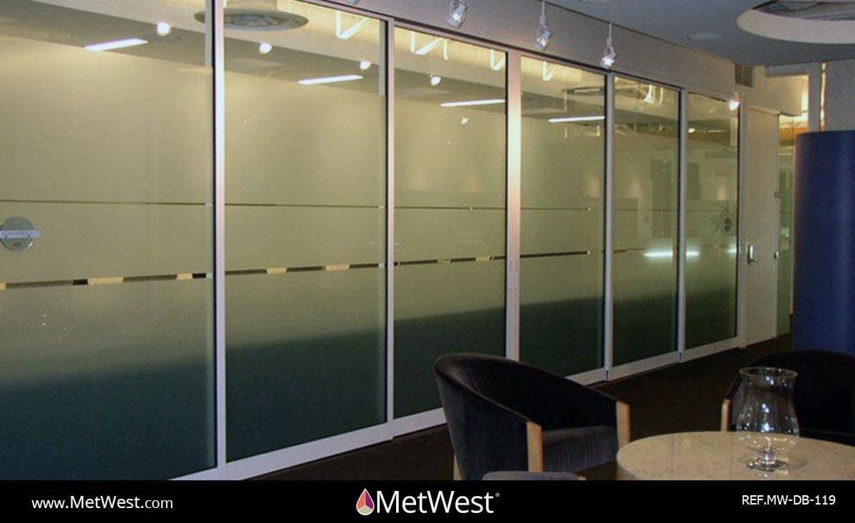 Decorative Glass Film  DB-119 Material:  dusted crystal Location:   Project:   Client:   Application:  custom cut privacy film bands