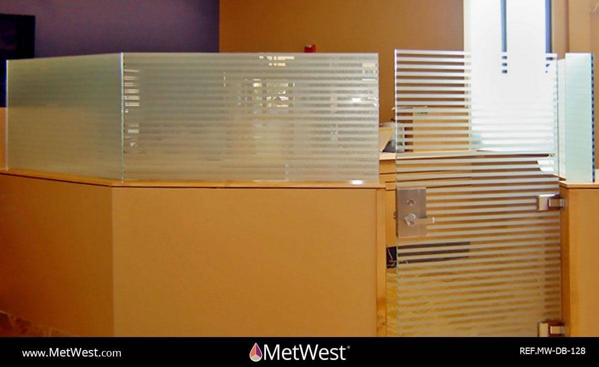 Decorative Glass Film  DB-128 Material:  Frosted crystal  Location:   Project:   Client:   Application:  double blind installation