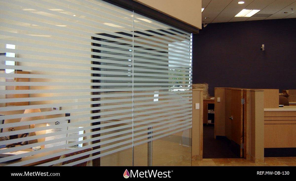 Decorative Glass Film  DB-130 Material:  Frosted crystal  Location:   Project:   Client:   Application:  custom cut pin stripe pattern