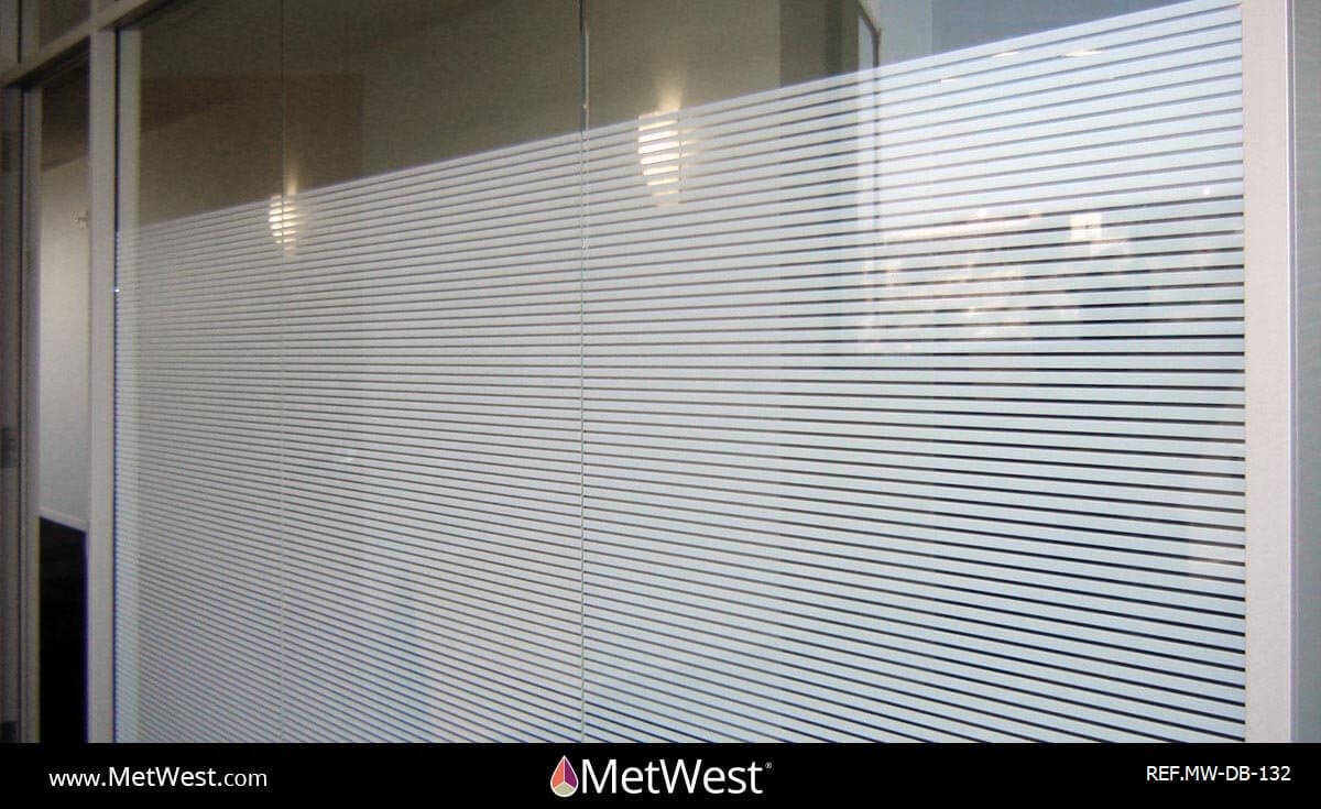 "Decorative Glass Film  DB-132 Material:  SXHP-2041 White Stripe 3/8"" Location:   Project:   Client:   Application:  decorative privacy film"