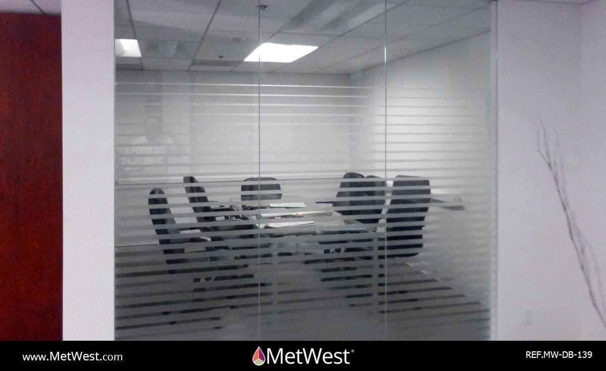 Decorative Glass Film  DB-139 Material:  Dusted Crystal  Location:   Project:   Client:   Application:  custom cut stripes gradient