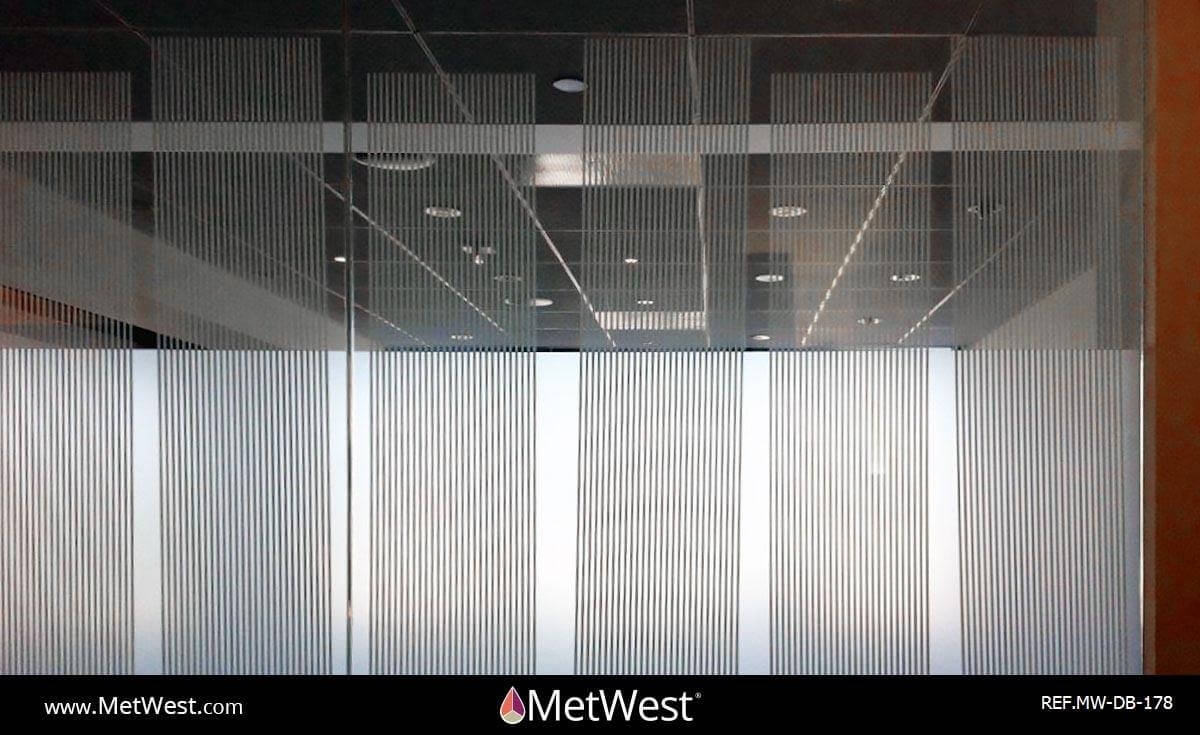 Decorative Glass Film DB-178 Material: SXC-1418 Frosted Stripes Location: Project: Client: Application: decorative window film, double side film installation