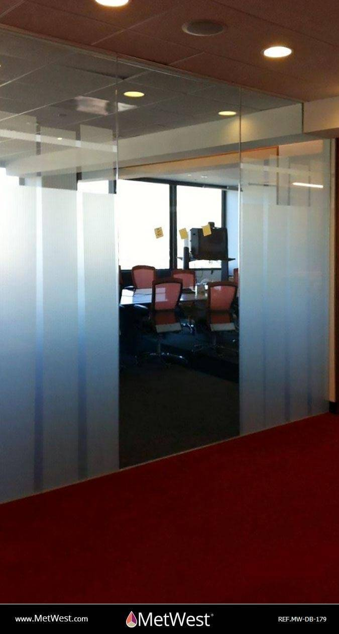 Decorative Glass Film  DB-179 Material:  Dusted Crystal  Location:   Project:   Client:   Application:  custom cut vertical bands