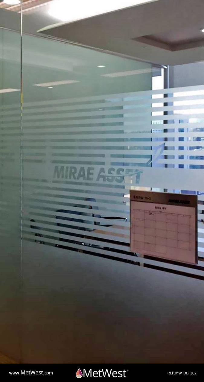 Decorative Glass Film  DB-182 Material:  Dusted crystal Location:   Project:   Client:  Mirae Application:  custom cut-out logo