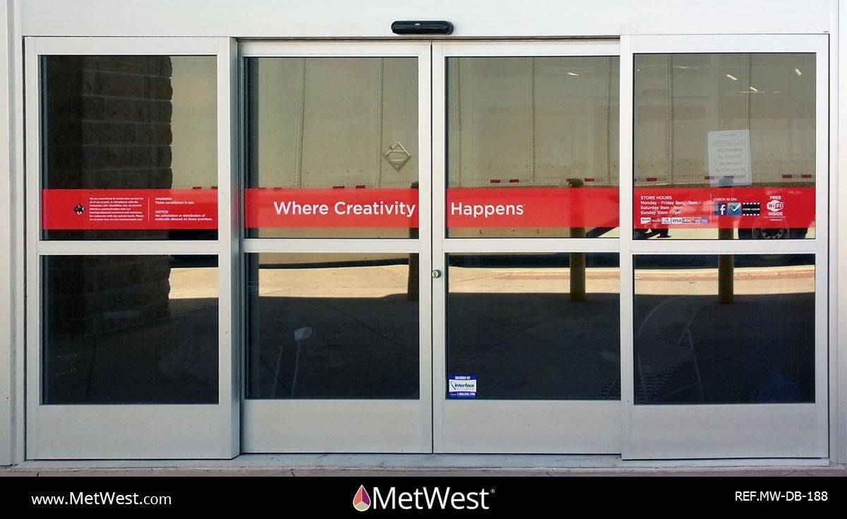 Decorative Glass Film  DB-188 Material:  Vinyl Location:  Multiple locations Project:  Storefront  Client:  Michael's  Application:  white lettering printed on red vinyl