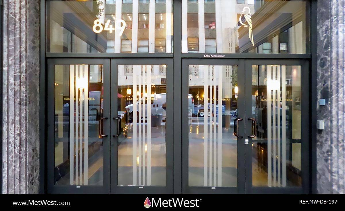 Decorative Glass Film  DB-197 Material:  Dusted Crystal & Mirror Gold vinyl Location:   Project:  Lobby entrance  Client:  849 S. Broadway  Application: