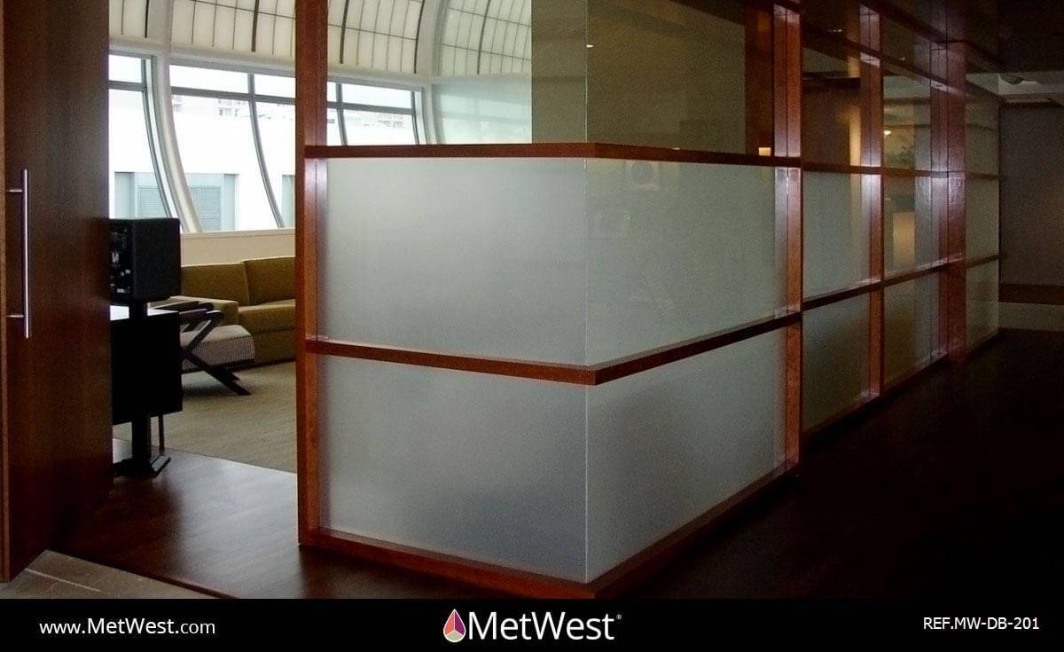 Decorative Glass Film  DB-201 Material:  Dusted crystal Location:   Project:   Client:   Application:  Privacy frosted window film