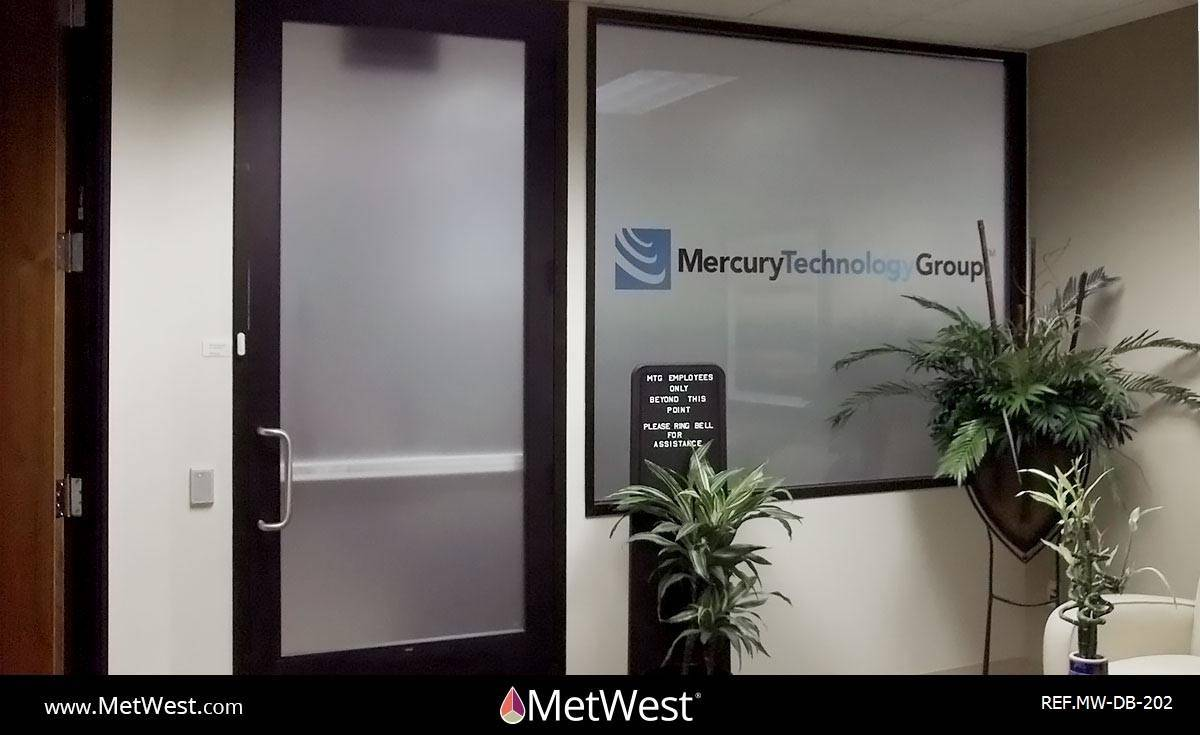 Decorative Glass Film  DB-202 Material:  Dusted crystal Location:   Project:   Client:  Mercury Technology Group Application:  frosted window film with a custom printed logo