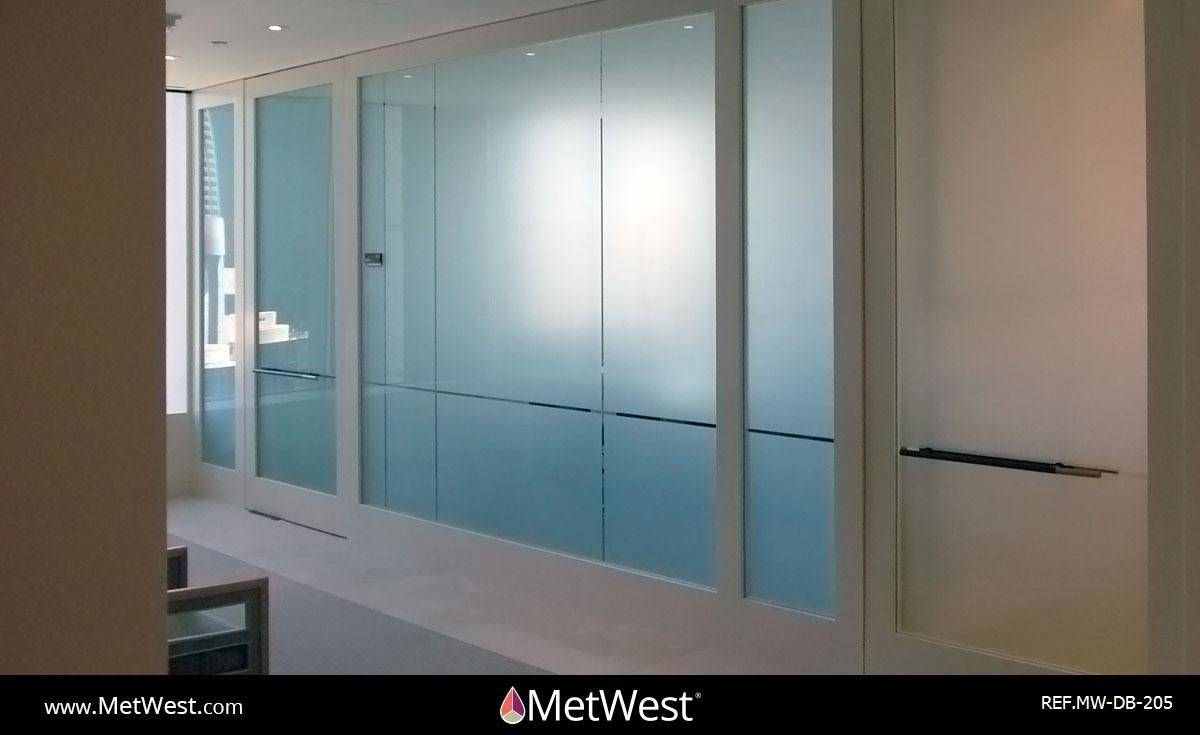 Decorative Glass Film  DB-205 Material:  Dusted crystal Location:   Project:   Client:   Application:  Privacy frosted window film with custom cut clear reveals
