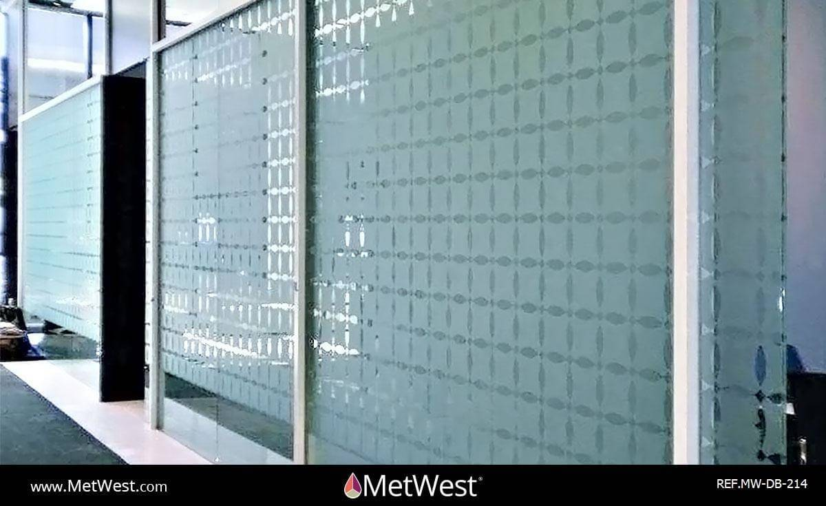 Decorative Glass Film DB-214 Material: Metro Frost Location: Project: Client: Equinox Application: custom cut logo pattern