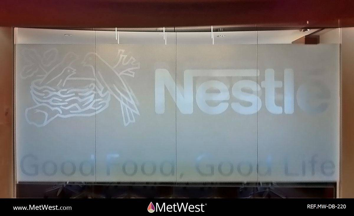 Decorative Glass Film  DB-220 Material:  3M Fasara Yamato  Location:   Project:   Client:  Nestle Application:  custom cut graphics on decorative window film