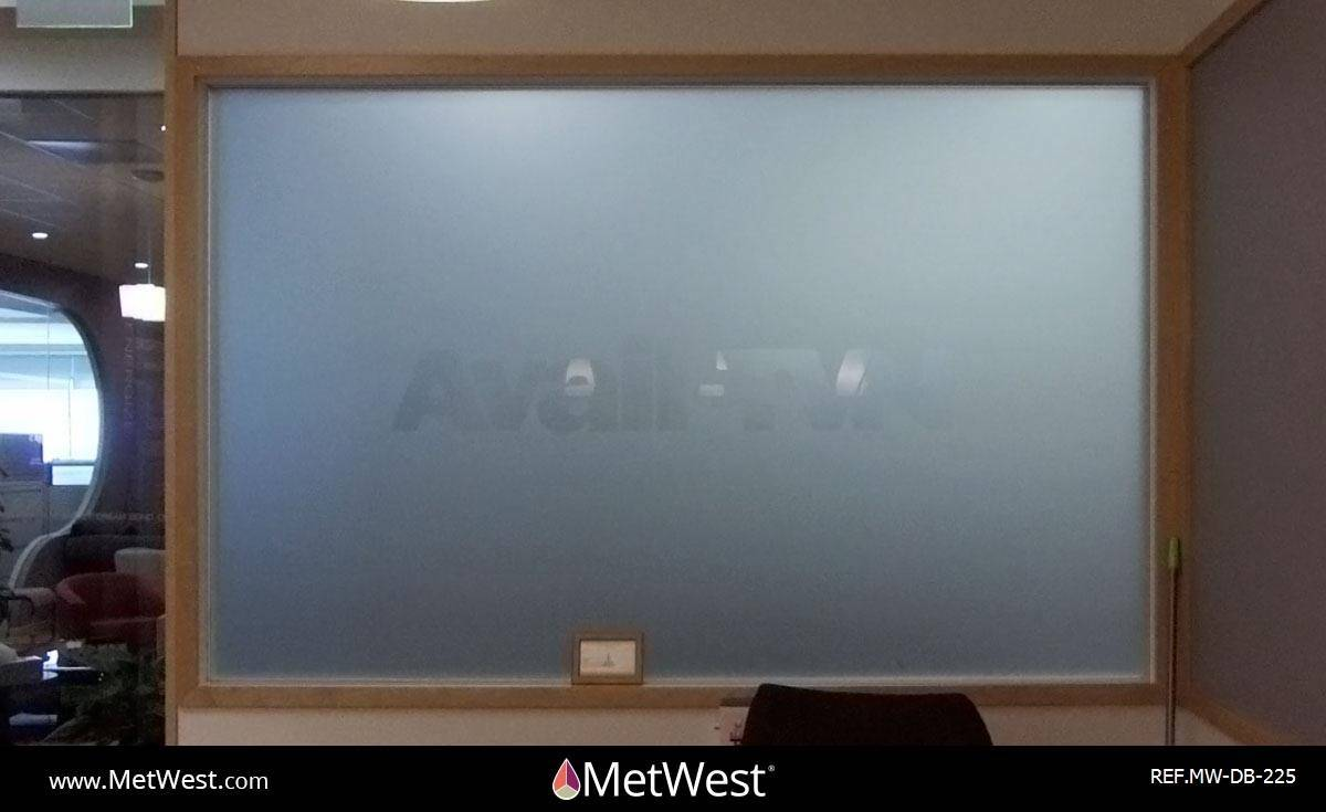 Decorative Glass Film  DB-225 Material:  Metro Frost  Location:   Project:   Client:  Avail -TVN Application:  Dual surface installation, custom cut logo on 1st surface