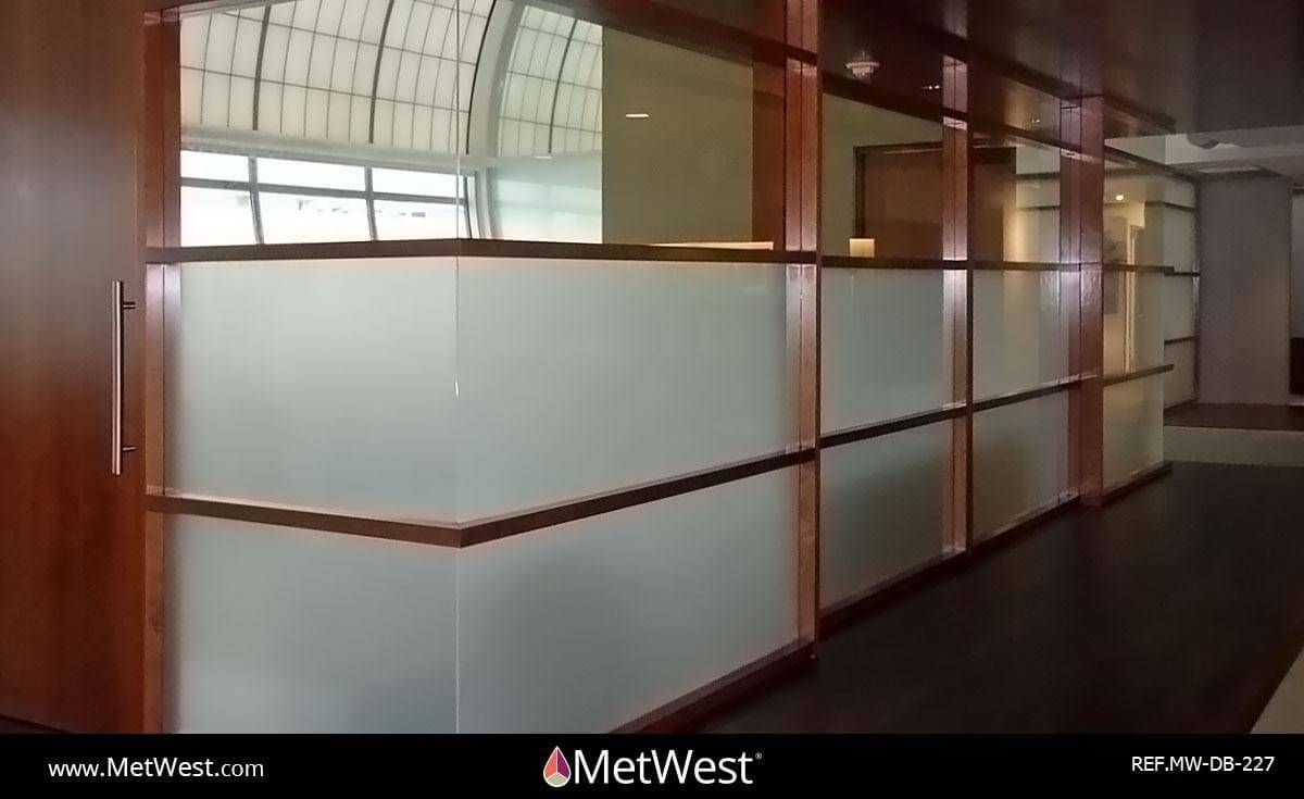 Decorative Glass Film  DB-227 Material:  Dusted crystal Location:   Project:   Client:   Application:  privacy window film band