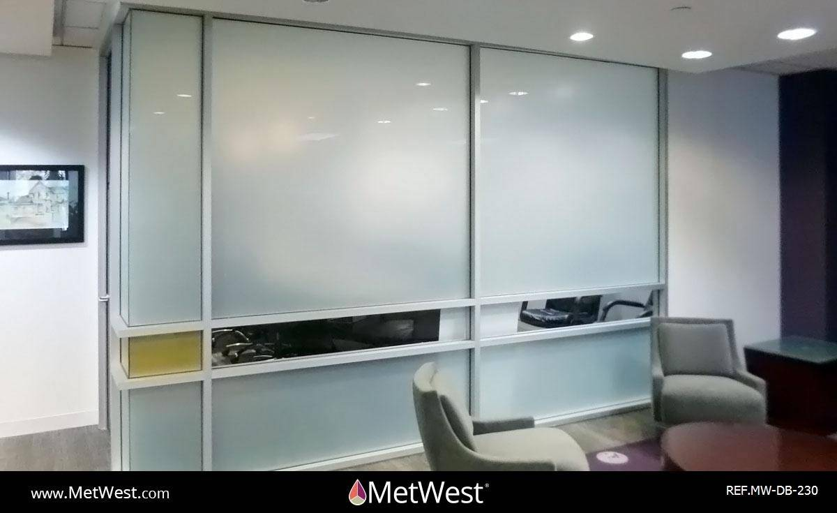Decorative Glass Film  DB-230 Material:  Dusted crystal Location:   Project:   Client:   Application:  privacy window film band