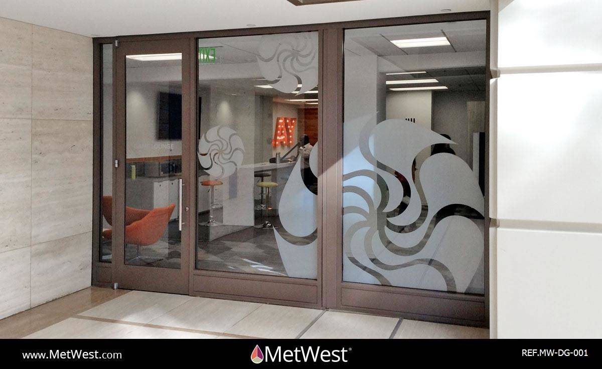 Decorative Glass Film DG-001 Material: Metro Frost Location: Project: 30 Pacifica Client: Irvine Company Application:
