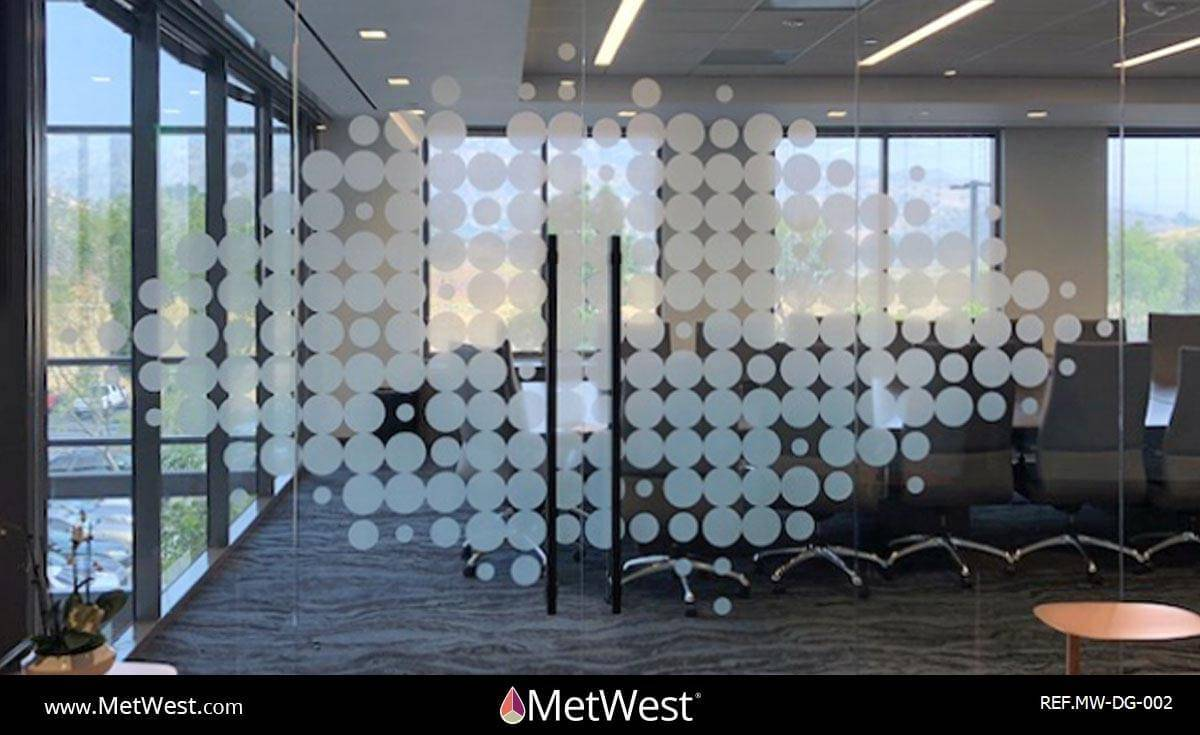 Decorative Glass Film  DG-002 Material:  Dusted crystal Location:   Project:   Client:   Application:  custom circles cloud pattern