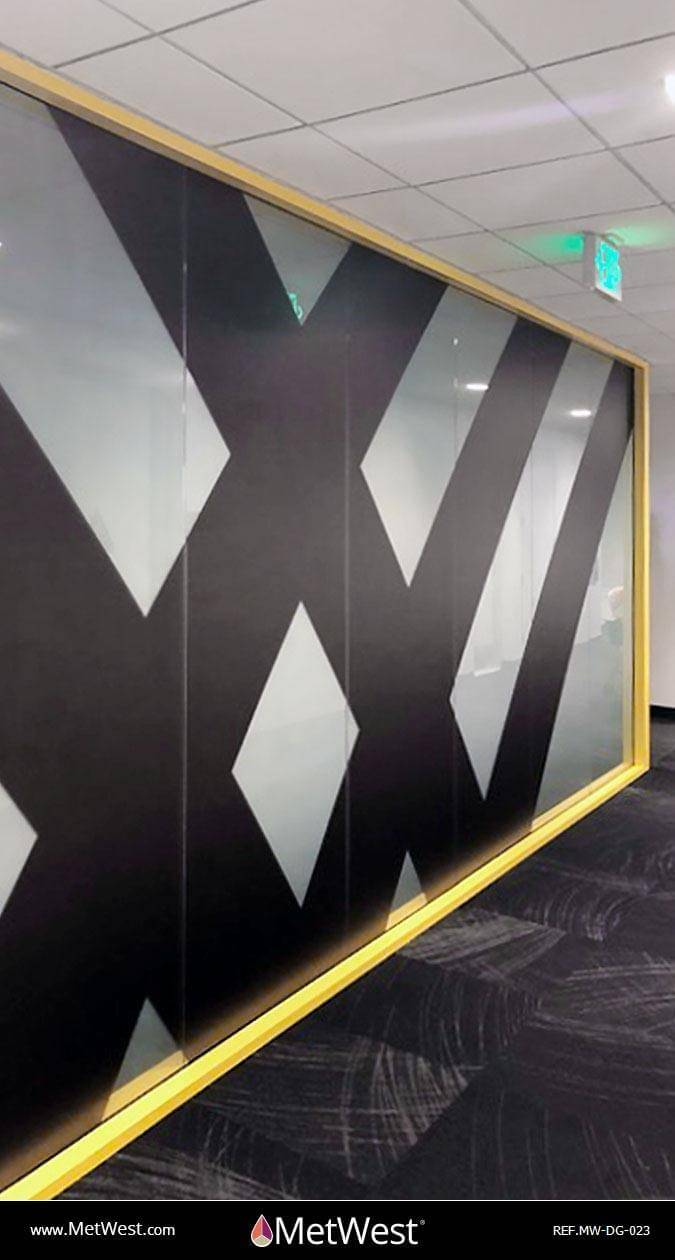 Decorative Glass Film DG-023 Material: Clear window film Location: Project: Client: BlackLine Application: Double side installation. White gradient and black logo