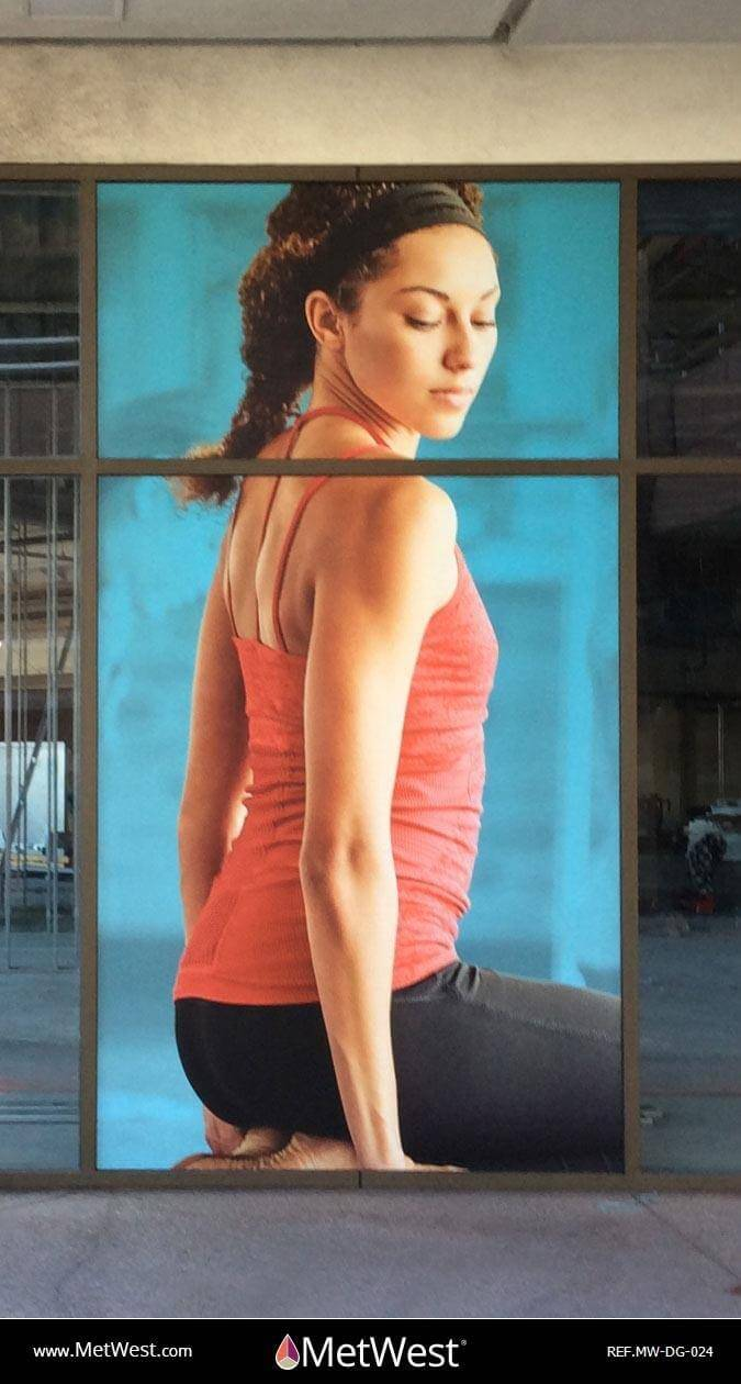 Decorative Glass Film DG-024 Material: IJ-180 with matte lam Location: LA Project: Storefront Client: 24hr fitness Application: Custom printed picture on vinyl