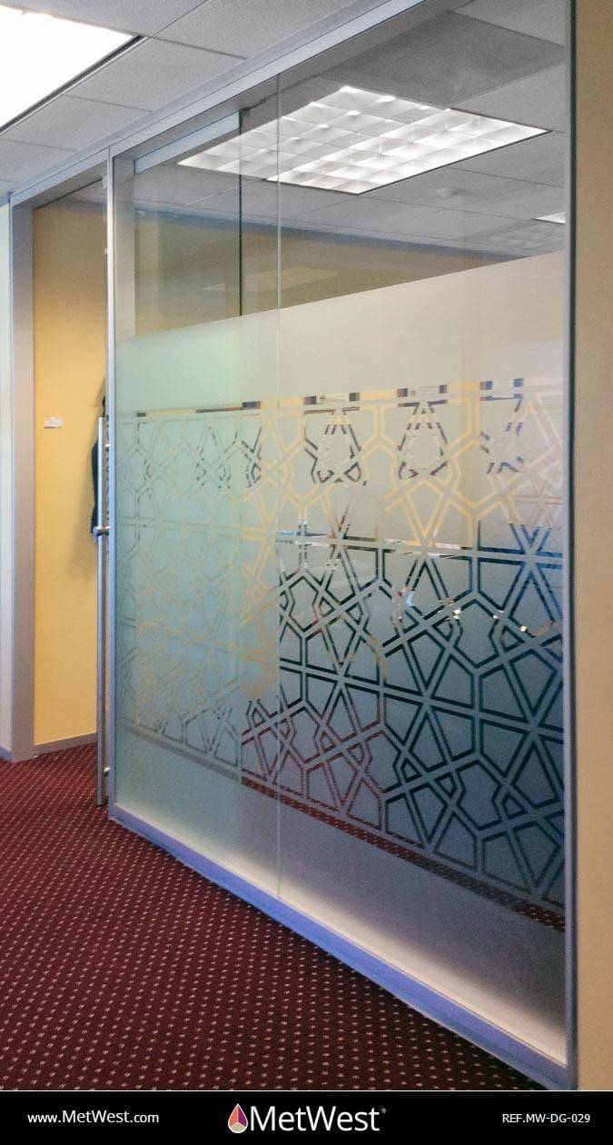 Decorative Glass Film  DG-029 Material:  Dusted Crystal Location:   Project:   Client:   Application:  custom cut pattern, privacy film