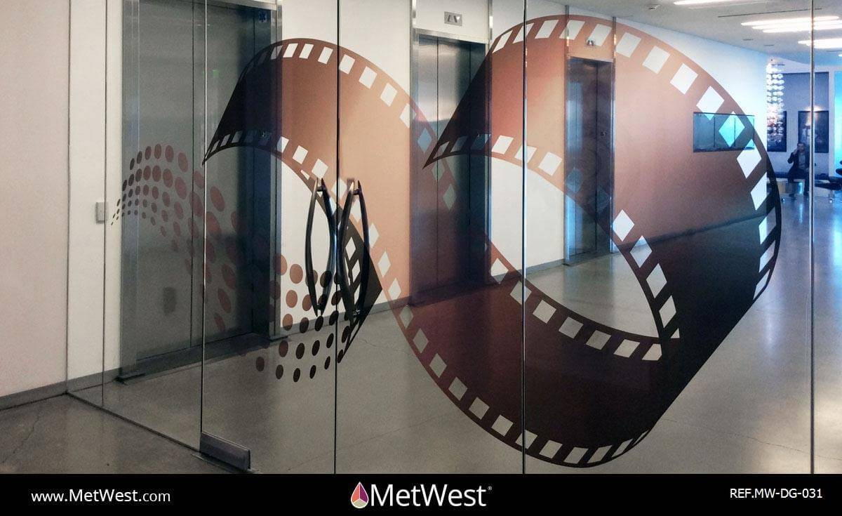 Decorative Glass Film  DG-031 Material:  ij-80150 with clear lam Location:   Project:   Client:   Application:  Transparent printed film, custom printed and cut logo
