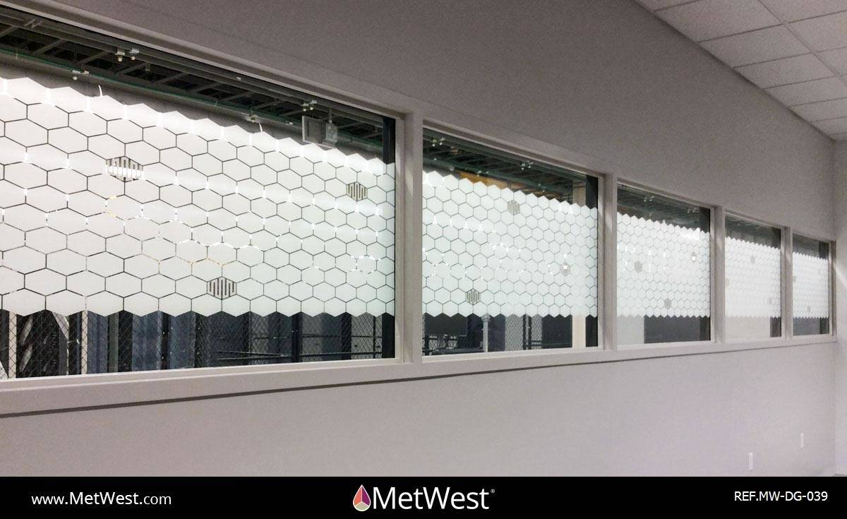Decorative Glass Film  DG-039 Material:  Clear film Location:   Project:   Client:   Application:  white printed honeycomb pattern