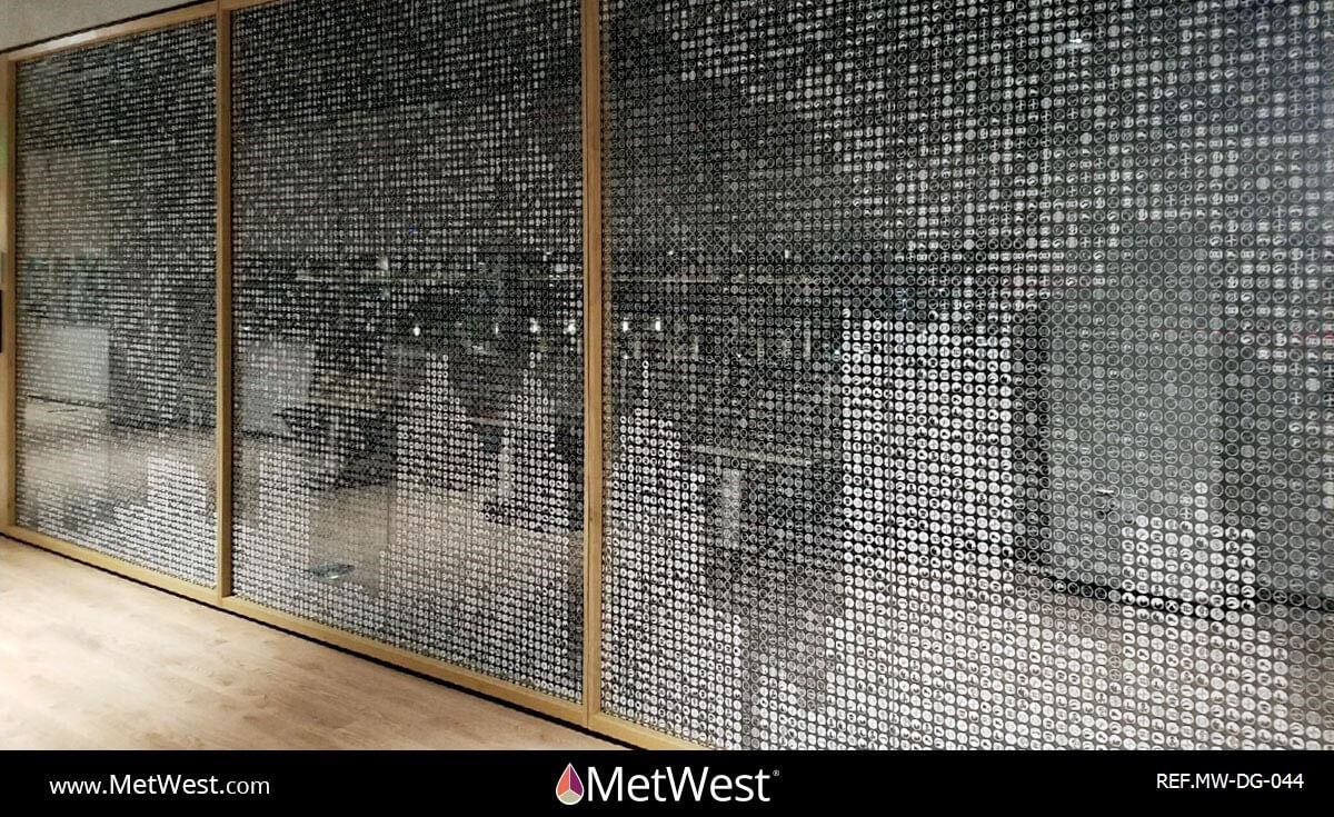 Decorative Glass Film DG-044 Material: clear film Location: Detroit Project: Microsoft Client: Application: white printed graphics on clear film