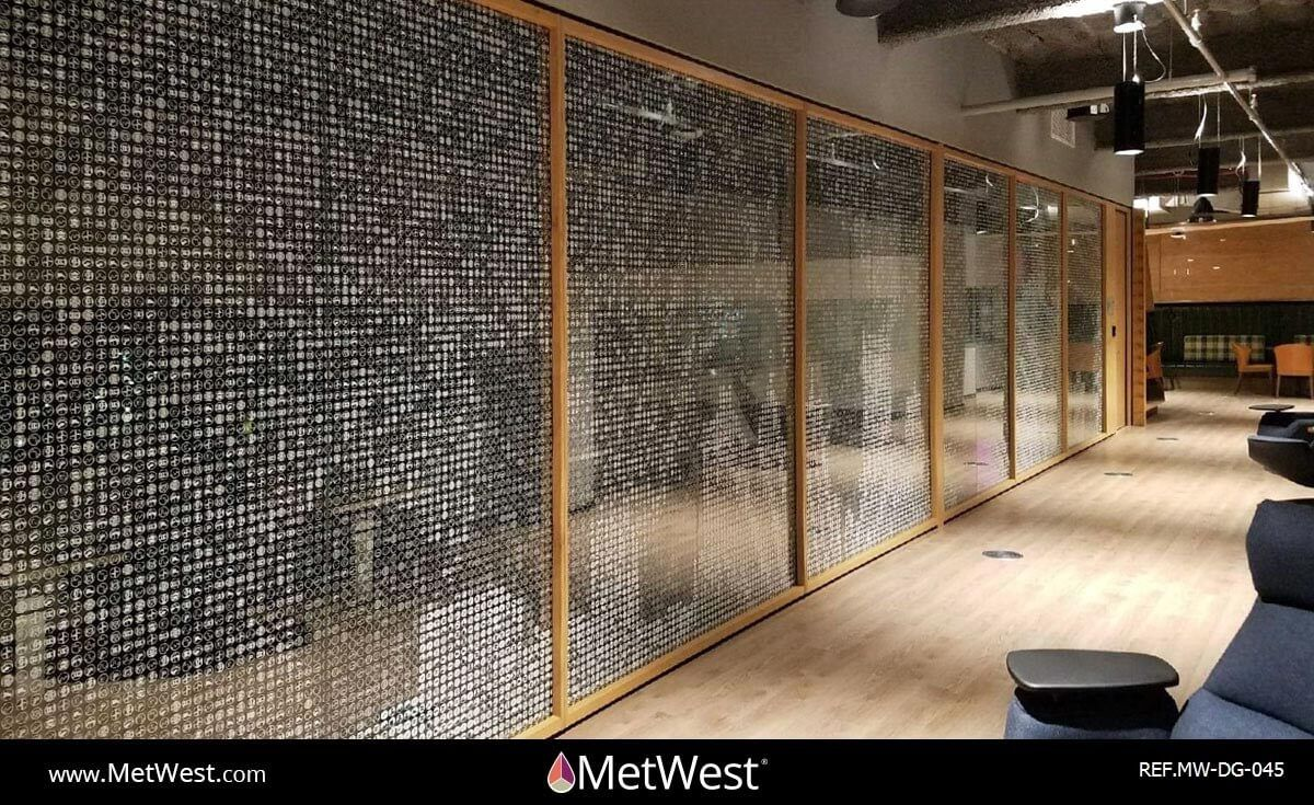 Decorative Glass Film  DG-045 Material:  clear film Location:  Detroit Project:  Microsoft Client:   Application:  white printed graphics on clear film