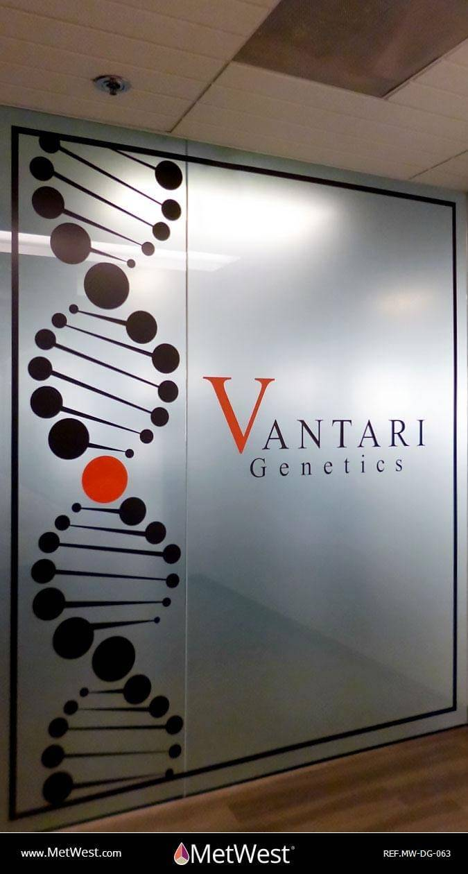 Decorative Glass Film  DG-063 Material:  dusted crystal Location:   Project:  vantari genetics Client:   Application:  signage, custom printed graphics