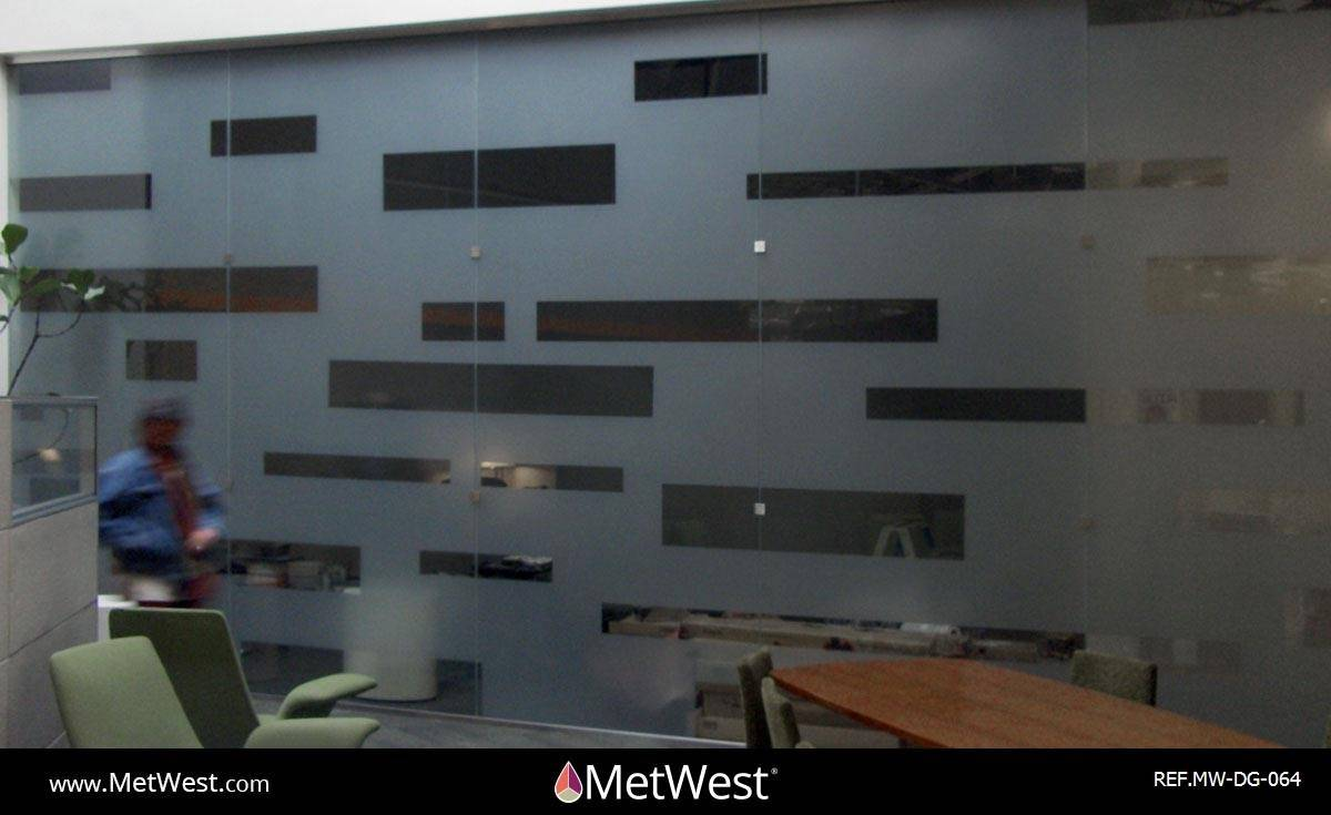 Decorative Glass Film  DG-064 Material:  dusted crystal Location:   Project:   Client:   Application:  custom cut pattern, privacy film