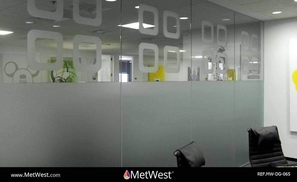 Decorative Glass Film  DG-065 Material:  dusted crystal Location:   Project:   Client:   Application:  custom cut pattern, privacy film