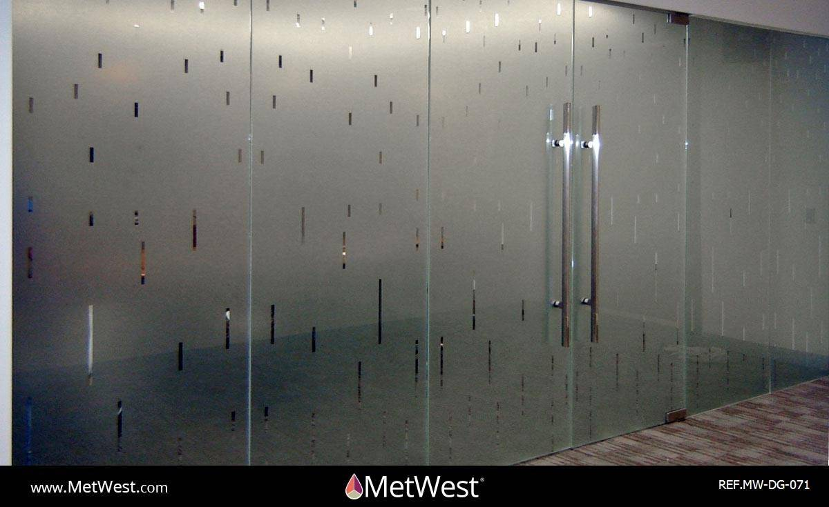 Decorative Glass Film  DG-071 Material:  dusted crystal Location:   Project:   Client:   Application:  custom cut pattern, privacy film