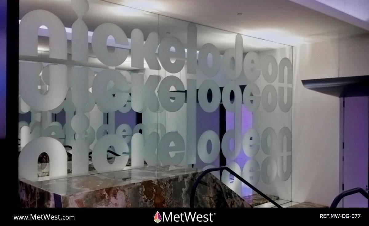 Decorative Glass Film  DG-077 Material:  Dusted crystal Location:  Los Angeles Project:   Client:  Nickelodeon Application:  frosted window film logo