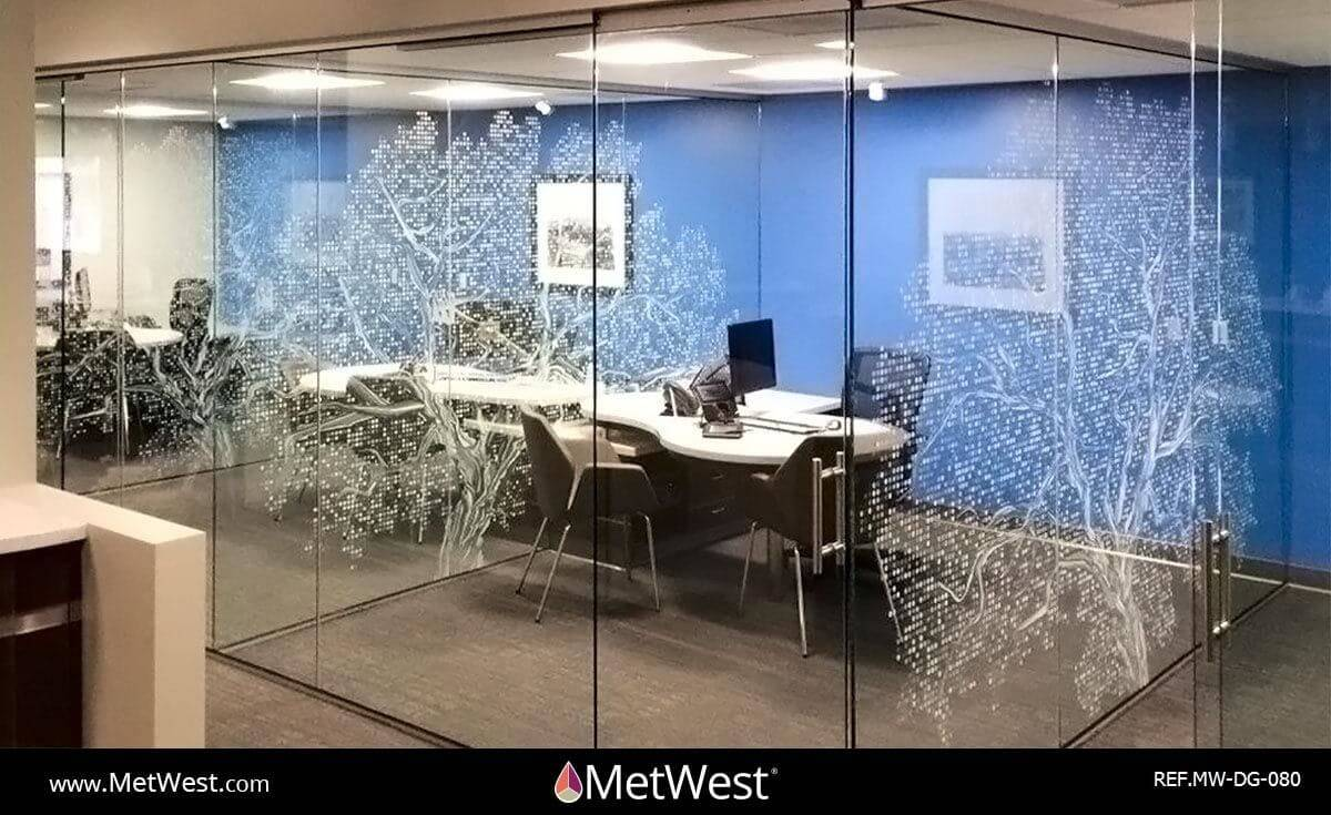 Decorative Glass Film DG-080 Material: Clear window film Location: Project: Client: Application: custom white printed graphics