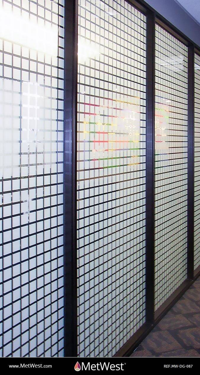 Decorative Glass Film  DG-087 Material:  clear window film Location:   Project:   Client:   Application:  white printed squares pattern