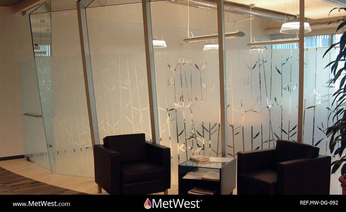 Decorative Glass Film  DG-092 Material:  Dusted crystal Location:  long beach Project:   Client:  Scan Application:  bamboo pattern cut on frosted window film