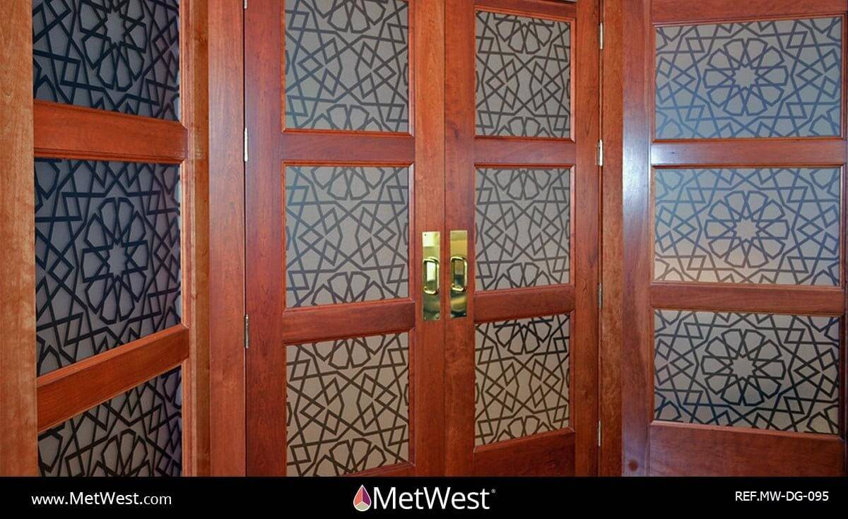 Decorative Glass Film  DG-095 Material:  Dusted crystal  Location:  Los Angeles Project:  conference room privacy film  Client:  UAE Embassy  Application:  Mashrabiya pattern printed on frosted window film