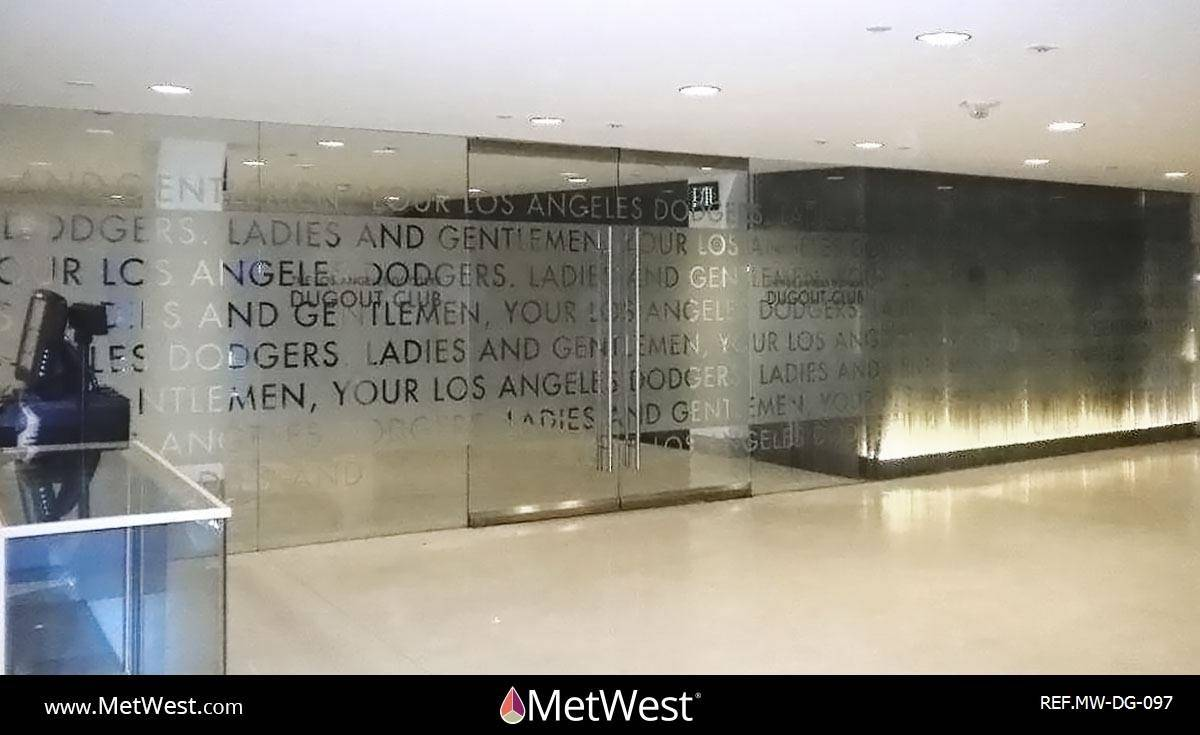 Decorative Glass Film DG-097 Material: Dusted crystal Location: Los Angeles Project: Client: Dodgers Application: custom cut graphics