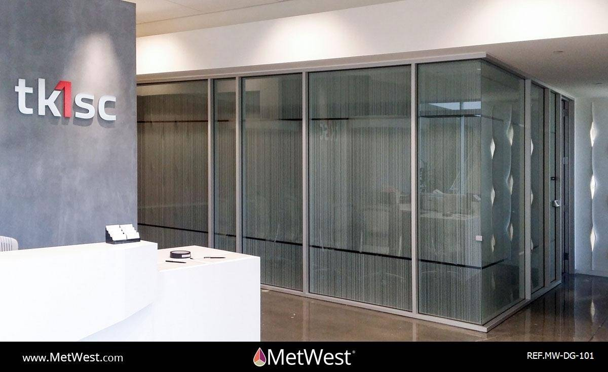 Decorative Glass Film DG-101 Material: 3m Fasara Arpa Location: Irvine Project: Client: TK1SC Application: Custom cut privacy film