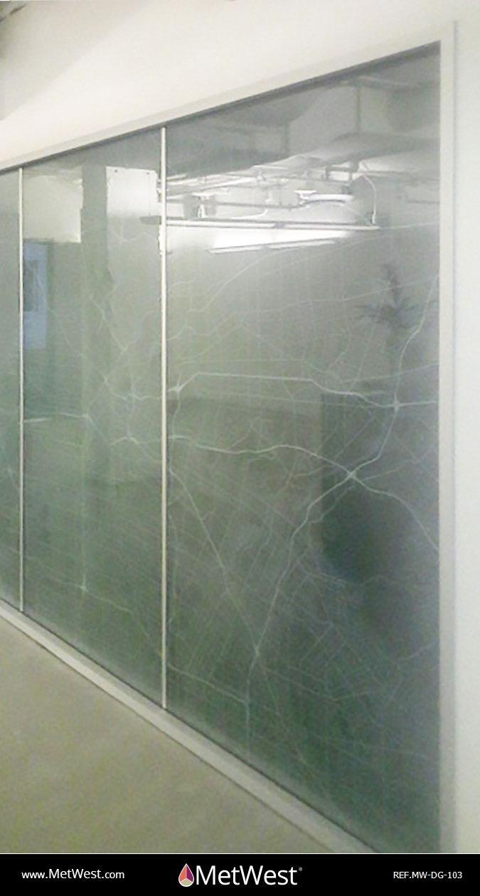 Decorative Glass Film DG-103 Material: Dusted crystal Location: Los Angeles Project: Client: Application: white printed LA Map on frosted window film