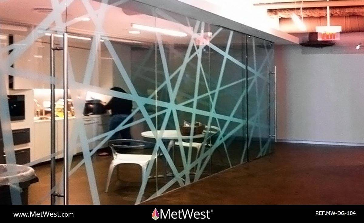 Decorative Glass Film  DG-104 Material:  Clear window film Location:  Boulder, Co Project:  Board room  Client:  RealD Application:  Custom white printed pattern